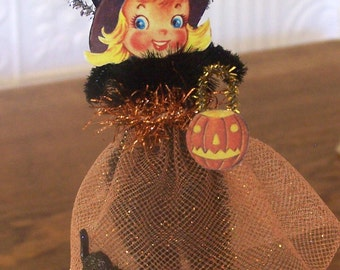 Little Witch Retro Style Halloween Decoration Ornament
