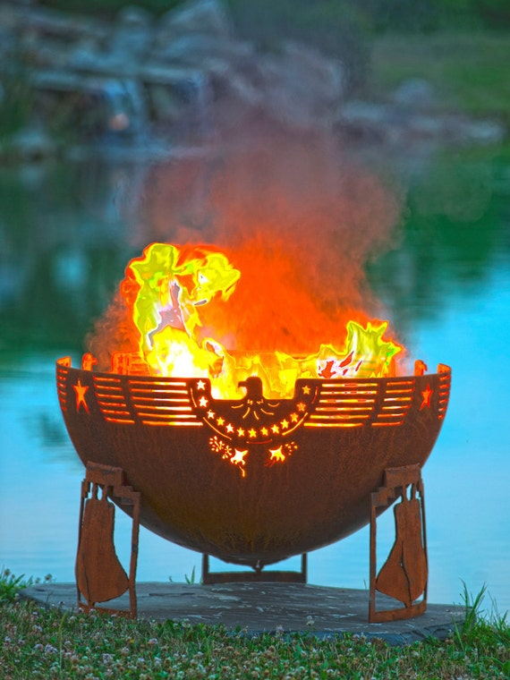"""Freeedom Fire - 37"""" Patriotic Fire Pit - Eagle Olive Branch Arrows Flag Stars Stripes Liberty Bell Fire Bowl"""