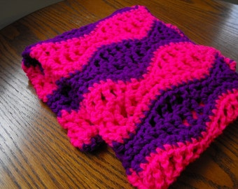 Handmade Baby Blanket, Bright Pink and Purple, Neon, Wavy, Ready to Ship, Machine Washable, Blankie, Afghan, Throw,  Crib, Stroller, Girl