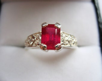 Natural Pigeon Blood Ruby In Sterling Silver, White Topazes Ring, 1.44ct Size 7