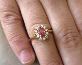 14K Yellow gold Ruby and round diamonds