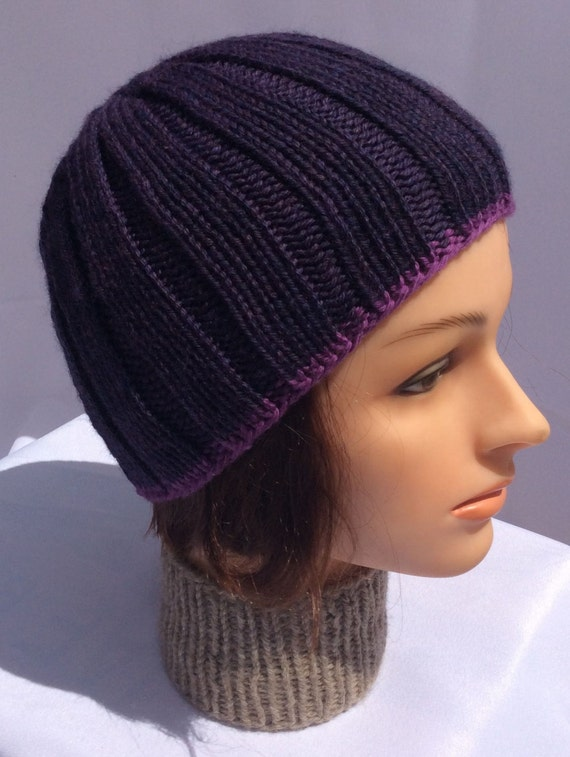 Knitted Beanie Hand Knit Purple Hat Knit Purple Beanie Knitted Skull Cap Purple Hat