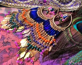 """Long Colorful Beaded Exotic Chandelier Earrings, Gold, Silver or Bronze Hoop Earrings, East Indian Bollywood, Cobalt Blue, Orange, 6"""" Long"""