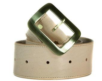 Natural leather belt, belt, extra wide, natural, handmade, Melbourne, Australia, brass hardware, wide belt, thick belt, leather, chunky.