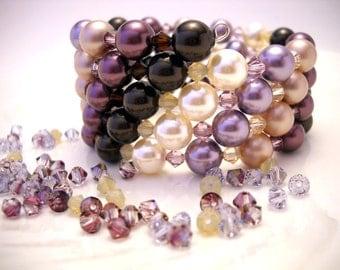 Plum vintage style Swarovski bracelet: Found in the Attic - swarovski pearls, purple, cream, vintage style, wrap bracelet, memory wire,
