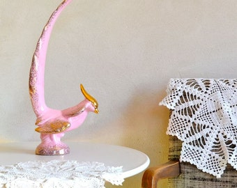 Fabulous Ceramic Statuette Pink & Gold Mid-Century Bird w Tail Feather