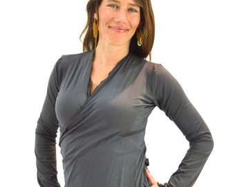 Charcoal Gray Small Wrap Shirt Longsleeve Yoga Top