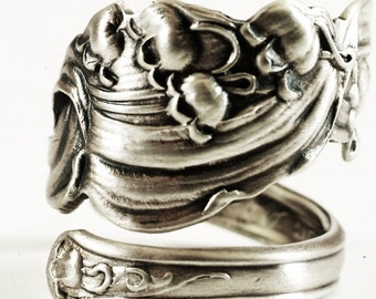 Unique Victorian Lily of the Valley, Manchester May Lily Pattern Sterling Silver Spoon Ring, Handmade Jewelry, Adjustable Ring Size (6123)