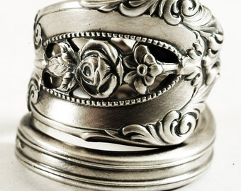 """Vintage Victorian Rose Ring, Rose Flower, Sterling Silver Spoon Ring, Wallace """"Rose Point"""" ca 1934, Gift for Her, Adjustable Ring Size, 6872"""