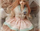 Kylin 5pics Set Ivory Dress for BJD Dolls SD10 SD13 Size Girl [Sakura Macaroon/ Vanilla Macaroon]