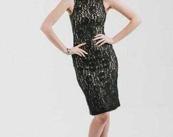 Vintage 90s Black Lace Dress / Black Lace Lined Dress / Black Lace Bodycon Dress