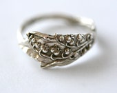 RARE Antique Sterling Silver Ring-  Lily Of The Valley, 1905
