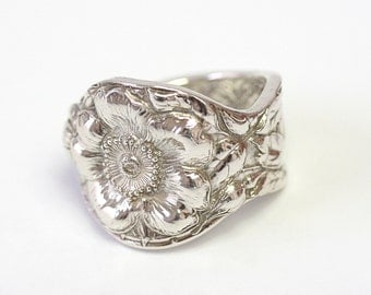RARE Antique Sterling Silver Ring - Wild Rose, 1903