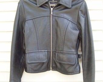90s Black Leather Motorcycle Jacket Size XS Leather Bomber Coat