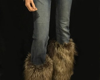 Faux Fur Leg Warmers Boot Covers In Brown Wolf Style: FG103