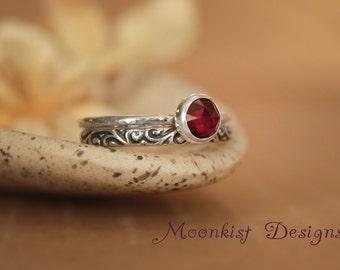 Garnet Bezel Set Silver Stacking Solitaire Wedding Ring Set - Unique Bridal Engagement Ring Band Set - Unique Swirl Set - Choice of Stone