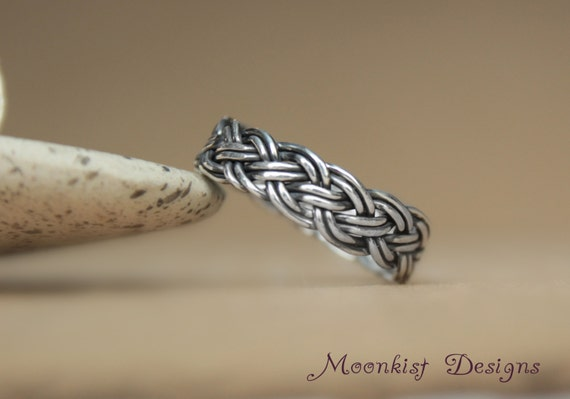 Handwoven wedding band in sterling silver by moonkistdesigns for Maine wedding bands