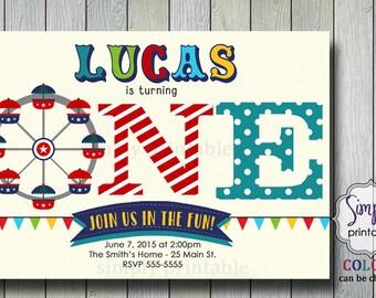 Carnival Invite, Circus Invite, 1st birthday invitation