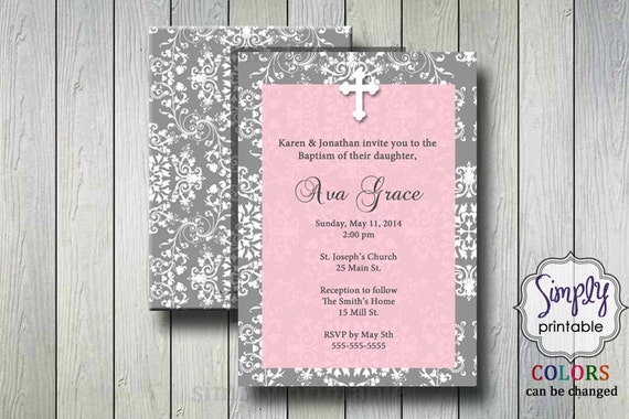 Pink First Holy Communion / Baptism Invitation Damask