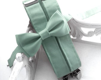 Dusty Shale Inspired Suspenders and Bow Tie Set, Ring Bearer, Wedding, Boys OR Men