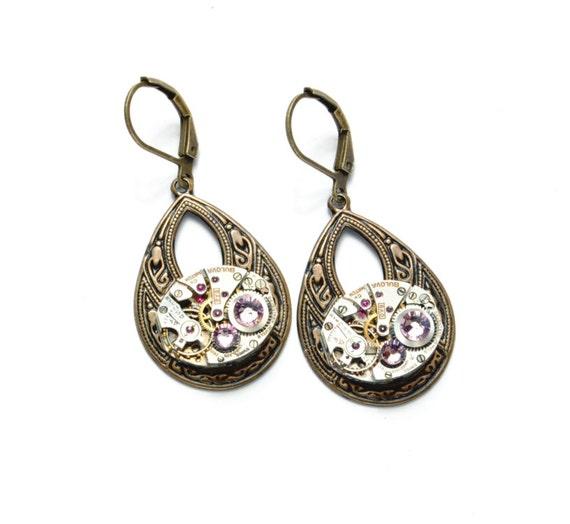 JUNE Steampunk Earrings ALEXANDRITE Swarovski Dangle Earrings Lilac Purple Antique Brass Steam Punk Steampunk Jewelry Victorian Curiosities
