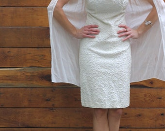 SALE Only a Cape Will Do Vintage 60s Dress Beaded White Shift Dress Chiffon Cape Cutout Body Con Party Dress