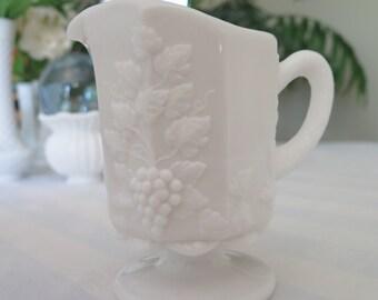 Vintage Milk Glass Pitcher Westmoreland Glass Co. Paneled Grape Pattern