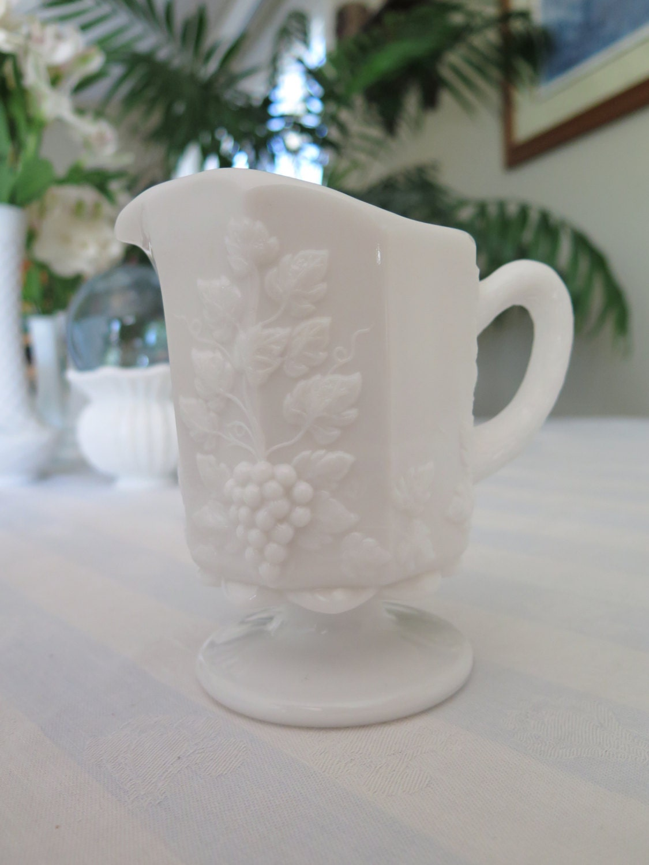 Vintage Milk Glass Pitcher Westmoreland Glass Co. Paneled