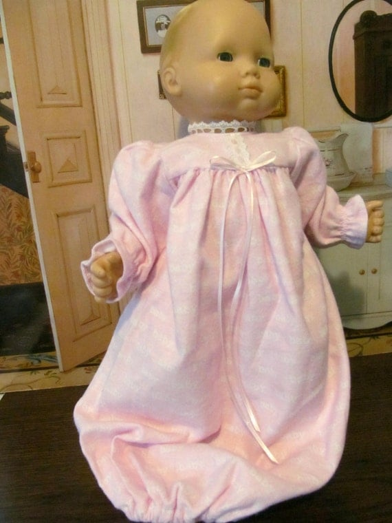 Baby  Doll Clothes, Flannel Nightgown, 15 inch Doll Clothes