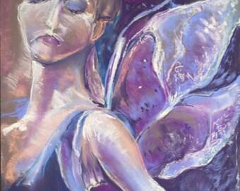 Original Soft Pastel Painting of Purple Fairy Dancer, Original Artwork, Fairy Art 19.75 x 25.5,  Pastel Painting