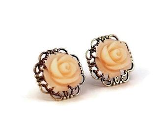 LIGHT PEACH Resin Flower Earrings, Antique Silver Filigree Base, Rose Flower, Hypoallergenic Surgical Steel Post - Qty 1, Pair Stud Earrings