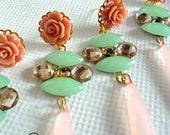 Multicolor Statement earrings, rose, dusty beige, beige, sea foam green, champagne, celebrity inspired, dangle, romantic, gold, teardrop