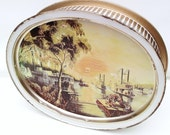 Vintage Metal Tin Sunshine Biscuit Tin Riverboat Steamboat Scene Metal Tray Rustic Storage Container Nautical Cookie Box Mississippi River