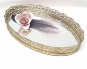 Vintage Vanity Tray Filigree Metal Oval Mirror Perfume Tray Gold Bathroom Organizer