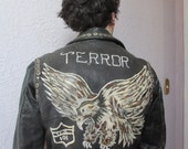 50's  Motorcycle Leather Jacket Hand Painted Studs Punk