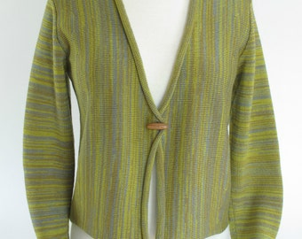 Women's Cropped Cardigan Sweater, Merino Wool, Chartreuse Variegated Stripe