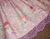 Sugary Sweets Candies & Gumballs Pastel Pink and White Polka Dot Sweet Lolita Skirt - ANY SIZE
