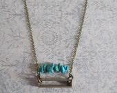 Cathode - Geometric Brass & Turquoise Semi Precious Stone Rectangle Necklace
