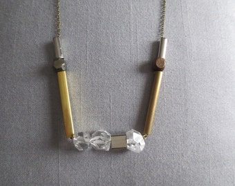 Samothrace - Quartz Crystal Brass Necklace; Modernist Industrial Wood and Mixed Metal Bar Necklace (Collier Laiton et Cristal) by InfinEight