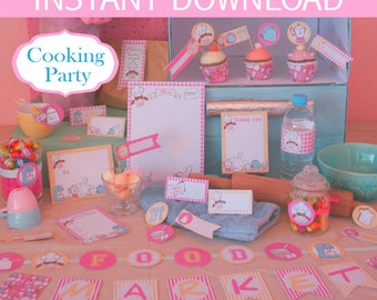Cooking Party Pink Party DIY Printable Kit - INSTANT DOWNLOAD