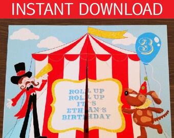 Circus Invitation DIY 3D Printable Kit - INSTANT DOWNLOAD