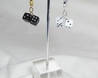 Black Dice Charm, White Dice Charm, Lobster Clasp, Phone Charm Zipper Pull Cell Lanyard