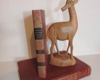 Wood Carving Gazelle  Hand Carved Wood Animal  Horned Animal