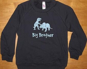 Big Brother Dinosaur T Rex Sweatshirt - Big Brother Shirt - Long Sleeved Shirt Navy Blue - Fleece 2T, 8, 10, 12  - Gift Friendly