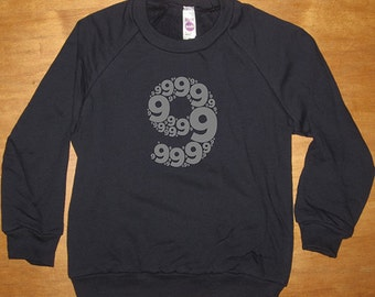 Birthday Shirt 9 - for Girl / Boy Ink Colors - Number 9 - Ninth Birthday - Sweatshirt - Long Sleeved Shirt Navy Blue Fleece - Gift Friendly