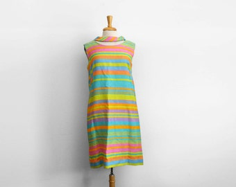 1960s vintage Candy stripe summer day mini dress, size large
