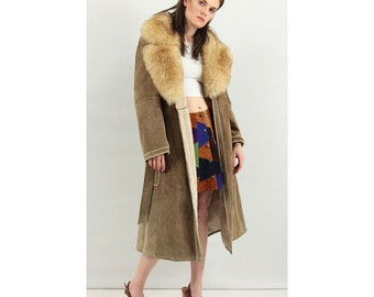 Almost Famous / Vintage Penny Lane style suede shearling coat / Sheepskin collar / S