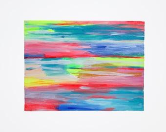 Rainbow Harmony Three 9x12 canvas paper original painting