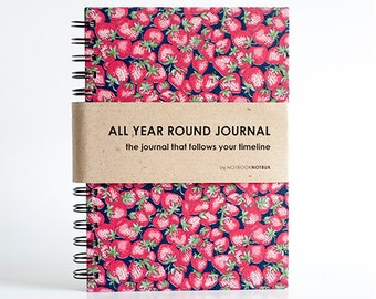 All Year Round Timeless Journal / Planner (Self-filled dates, fabric wrapped) - Strawberry Field