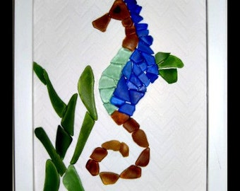 Beach Glass - Art - Seahorse - Shadow Box